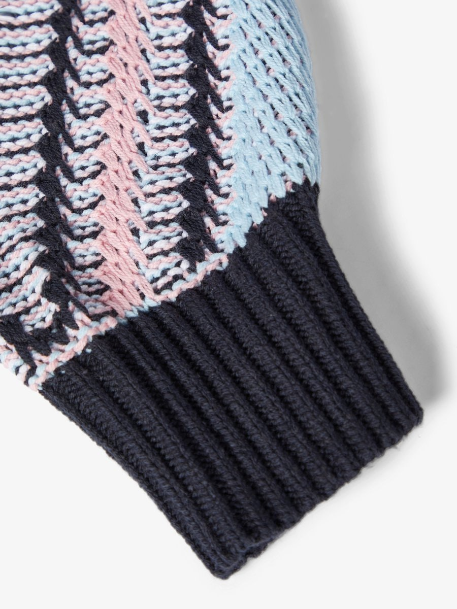 NAME IT KIDS - NKFBETHANY LS KNIT - Dark Sapphire PINK NECTAR
