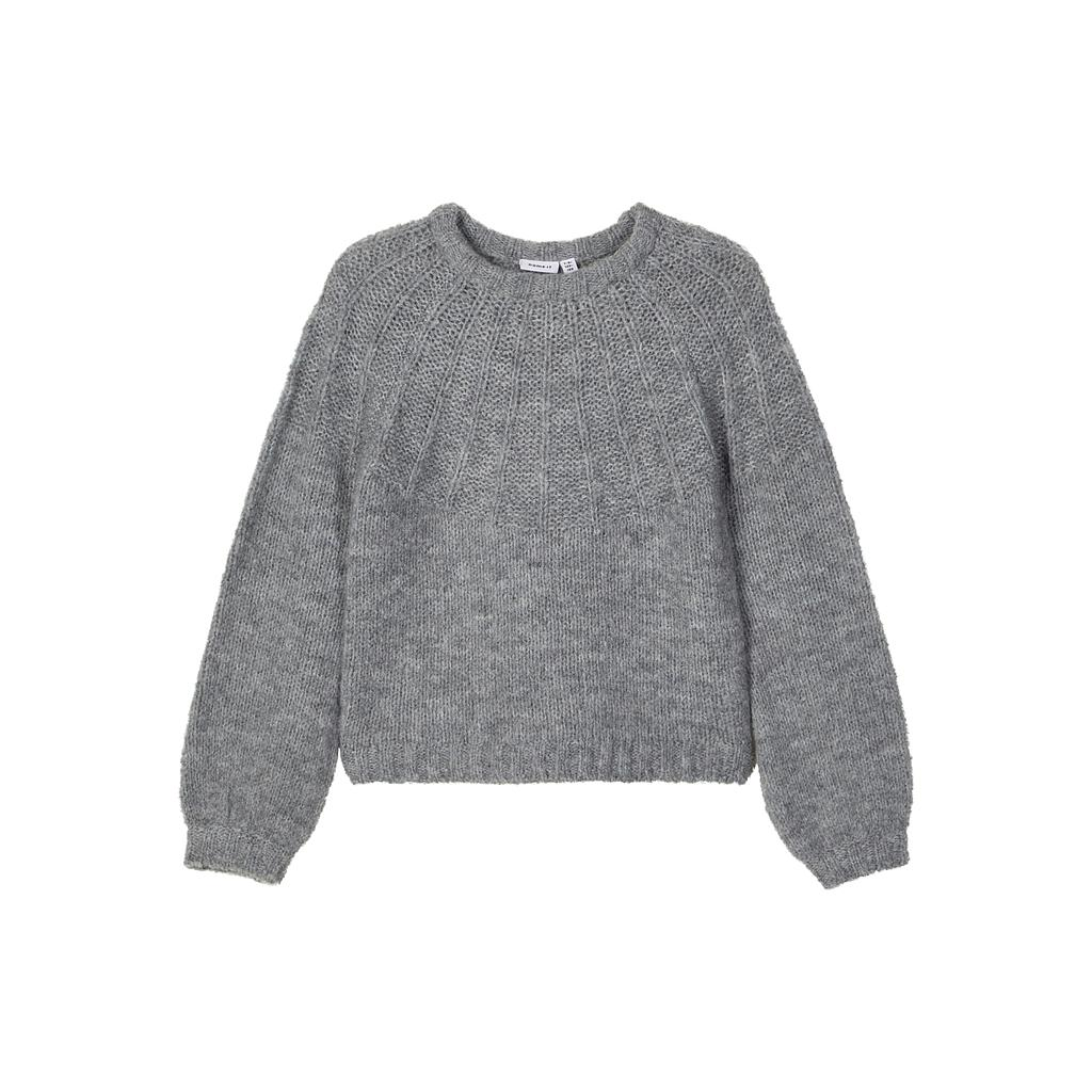 NAME IT KIDS - NKFRINJA LS KNIT CAMP - Grey Melange