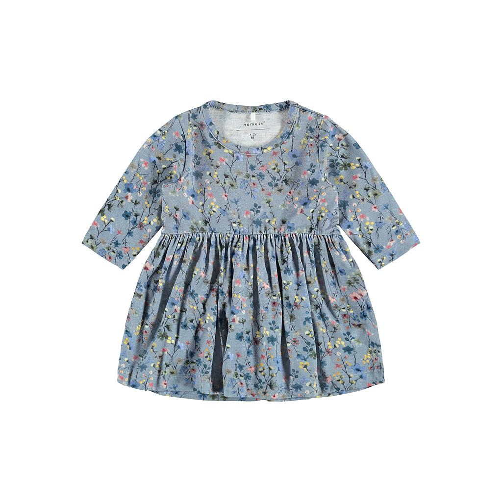 NAME IT BABY - NBFTESSIE LS DRESS - Dusty Blue