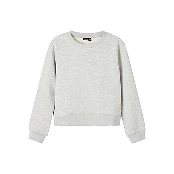 LMTD - NLFOPAL LS O-NECK  SHORT SWEAT - Grey Melange